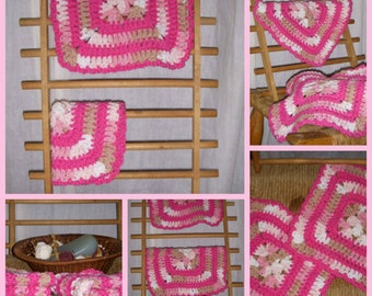 Set of 2 crocheted Strawberries and Cream Dishcloth washcloth rag doilie 100 percent cotton varigated hot pink tan white yarn