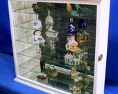 Antique White Wall Curio Cabinet Tabletop Display for Collectibles