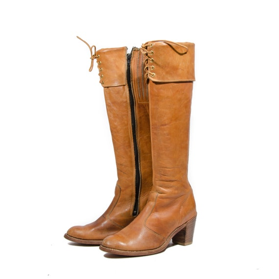 s cus boots dingo brown leather by rabbithousevintage