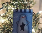 snowman, star, ornament, christmas tree, hand painted