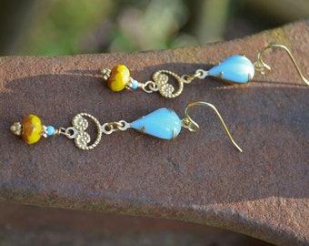 Blue and Yellow Earrings with Gold Charms Baby Blue Teardrops and Bright Yellow Earrings