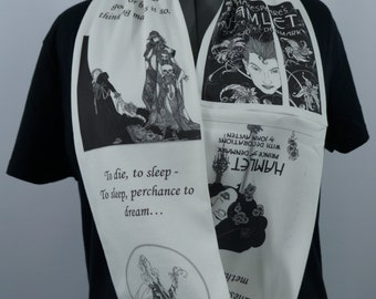 William Shakespeare Hamlet KNIT scarf - Regular or Infinity style available - made to order