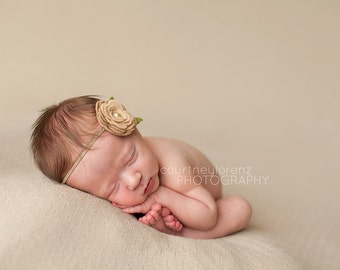 Taupe Wool Felt Rose Headband - Newborn Baby Photoprop - Infant - Toddler - Adult
