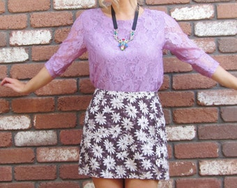 90s Floral Purple Lilac Lace Top