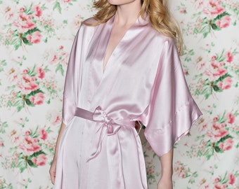 Ready to ship - Samantha Silk robe bridal kimono getting ready bridesmaids in rose pink