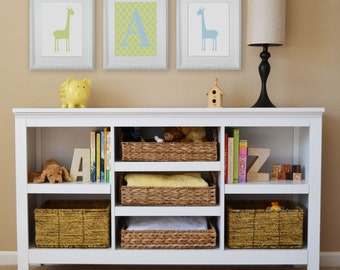 Giraffe and Monogram, Children's Wall Art, Children's Art Print, Nursery Decor, Giraffe Decor- Set of three 8x10 prints