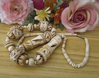 Tribal Artsy Hand-Carved Bone Necklace - African Bone Necklace, Vintage