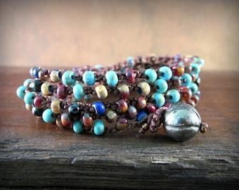 Boho Wrap Bracelet, Southwest Bohemian Crochet Necklace, Turquoise