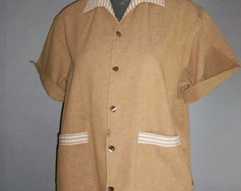 Sale***1950s Men's Shirt Jac // Cotton Drill Cloth // Gold Metal Buttons // Patch Pockets...medium