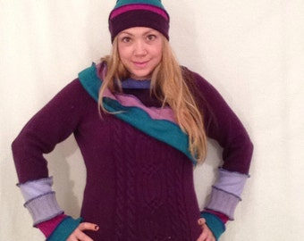 Plum cable knit cowl neck upcycled sweater  with knit beanie by Hope Floats Upcycled