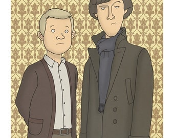 Sherlock and Watson - Illustration Art Print