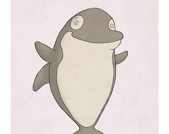 Orca Whale - Killer Whale - Cute Ocean Animal Art - Sealife Nursery Prints - Nursery Wall Decor - Art for Kids Room - Kid Wall Art