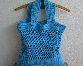 Large Cotton Crochet Tote in Bright Teal Blue - Eco-Friendly
