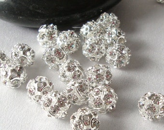 10 Silver and Crystal Rhinestone Disco Ball Spacer Beads 10mm  Fireball  bme0020
