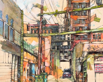 """Orange and Green Alleyway (Vancouver) Art Print 12"""" x 12"""" Reproduction Of Original Ink and Acrylic Painting"""