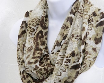 Chiffon Animal Print Infinity Scarf Brown Tan White Handmade Fashion Scarf by Thimbledoodle
