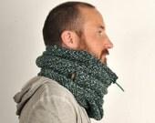 Unisex winter scarf, wool cowl hood, Snock® in teal, black and grey mottled herringbone wool