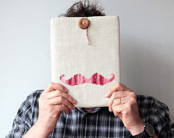 Pink Mustache - iPad 1 2 3 4 case or sleeve - Hand embroidery