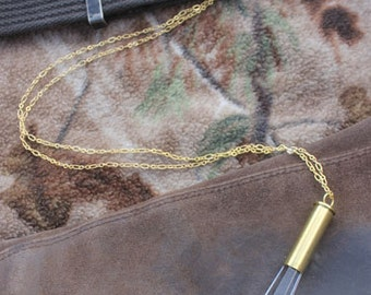 Warrior of Peace Necklace - Crystal and Brass Shell Casing Pendant 357 magnum