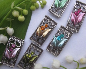 Lily Of The Valley  Enameled Rhinestone Silver Finding