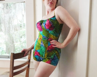 Vintage 1950s / 1960s Swimsuit Jumper One Piece Romper Playsuit Hawaiian Barkcloth Pin Up Bathing Suit Medium