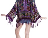 SALE 20% OFF // Traveler Velvet Burnout Beaded Fringe Tassel Kimono  - Plum
