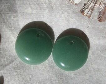Natural Aventurine gemstone coin pendant-( 20 mm round beads)-2 pieces
