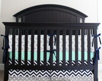 Elephant Crib Bedding Yellow Mint Gray Elephant Baby