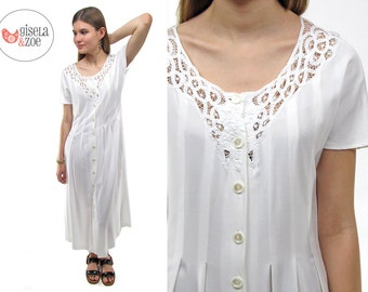 Minimalist 80s Battenburg Lace White Dress   Lace Maxi Dress Pleated Dress • xs • sm • md