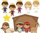 christmas clipart clip art christian nativity bible - Sweet Nativity Digital Clip Art