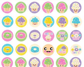kawaii 1 inch bottle cap circles bottlecap sweets treats - Kawaii Treats 1 Inch Circles Bottle Cap Images Digital Collage Sheet