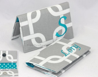 Grey and Teal Custom Design Business card holder, Personalized Graduation Gift