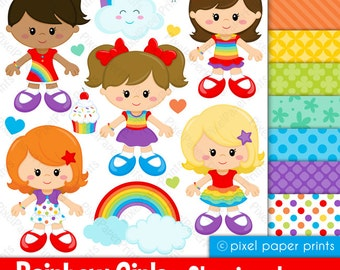 Rainbow girls - Classic colors - Clipart and Digital Paper Set