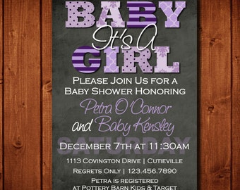 Modern It's A Girl Purple and Gray Baby Shower Invitation Digital File or add 5x7 Prints Front and Back