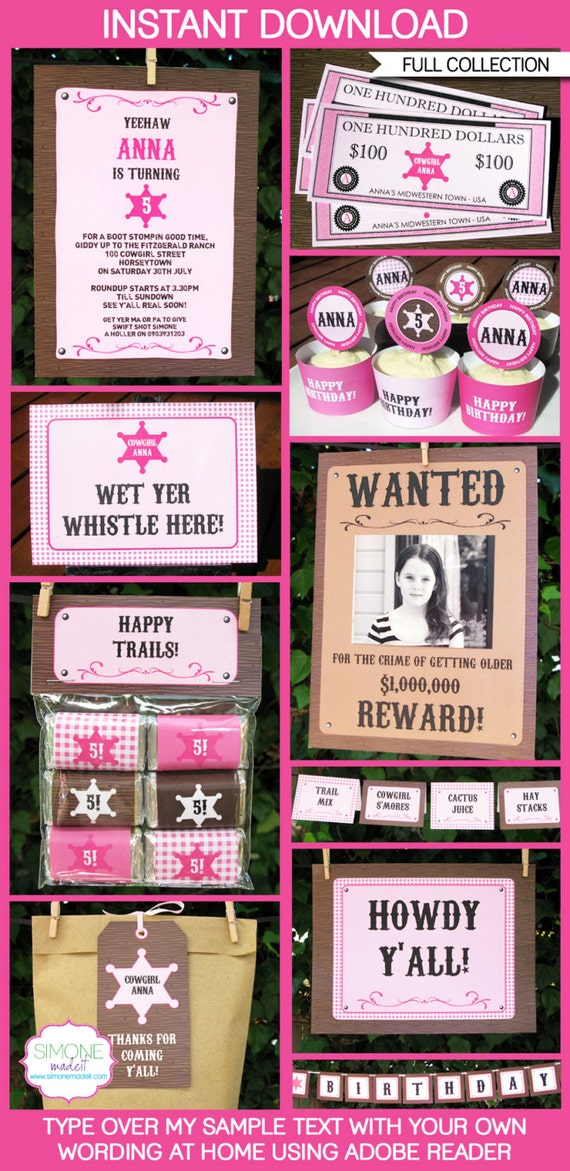 Cowgirl Party Invitations & Decorations - full Printable Package - INSTANT DOWNLOAD with EDITABLE text - you personalize at home
