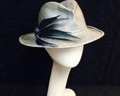 Couture trilby from hand dyed parasisol in silver gray