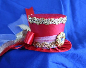 Circus Carnival Mini Top Hat, Red and Gold,  Ribbons,Tulle - Birthday, Ringmaster, Wedding, Mardi Gras