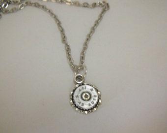 Silver Bullet Choker Necklace,   45 Caliber Mens Womens Gift  Handmade