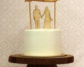Custom Wood Silhouette Wedding Cake Topper  - with your silhouettes - wood cake topper