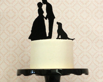 YOU And YOUR DOG Or Pets On A Custom Silhouette Wedding Cake Topper Dog