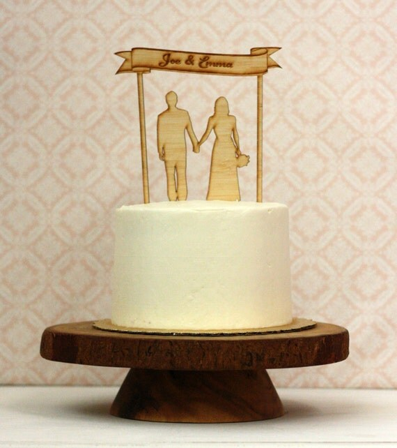 Custom Wood Silhouette Wedding Cake Topper  - with your silhouettes - wood cake topper