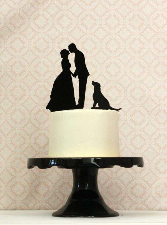 WITH DOG Custom Silhouette Wedding Cake Topper with your dog or pet and  Personalized with your Silhouettes - Bride Groom Dog Cake Topper