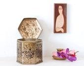White Brass and Patina Trinket Box  Pot Pourii Frangrance Box  Vintage Home Decor