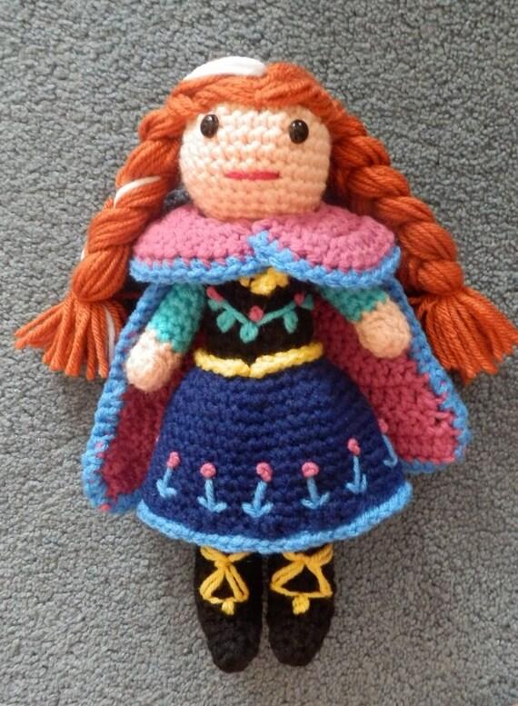 Crochet Frozen Anna Doll : Made to order Hand crocheted Like Frozen Anna Doll by joyalice