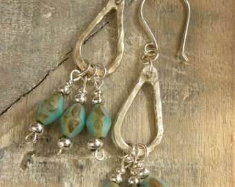 Fine Silver & Handmade Czech Green Glass Beaded Earrings