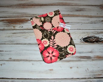 Diaper Clutch - Baby Diaper Holder Pink and Brown - Sweet Flower