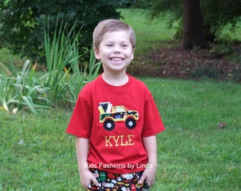 Personalized Red Monster Truck School Tshirt
