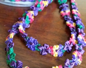 "3/8"" French Rococo Ribbon Trim Vibrant Purple with Pink, Yellow, Green and Purple chenille"