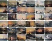 Ivan Aivazovsky -- Seascapes, Waterscapes. Set of 36 Vintage Postcards - 1950s-1980s