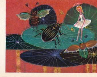 Thumbelina, Hans Christian Andersen. Drawing by Ivanin -- 1967, Soviet Artist